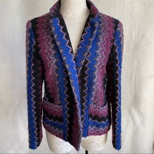 Vintage 60s 70s Chevron Stripe Knit Boucle Jacket